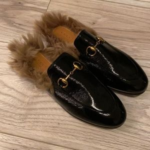 Gucci Princetown fur loafers Size 6.5